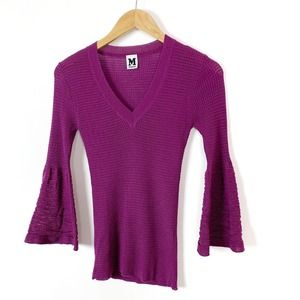 Missoni Purple Knit V-Neck Bell Sleeve Wool Top 6